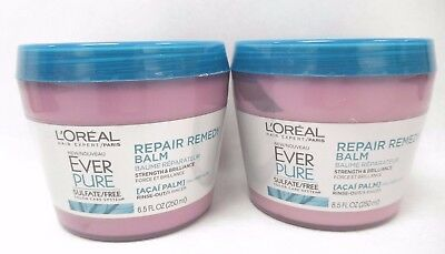 LOreal  EverPure Repair Remedy Balm 8.5 oz Unsealed LOT OF 2 New Exp 10/19+
