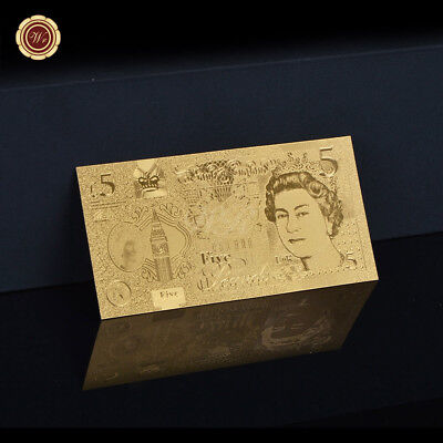 WR 2016 5 Pound Gold Banknote England Polymer Paper Money British Holiday Gifts