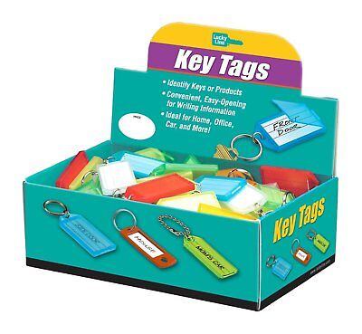 Lucky Line Key Tag with Flap & Split Ring,100 Per Box; Assorted Colors 60500