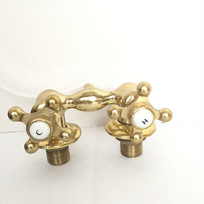 Art Deco Antique Vintage Hot And Cold Faucets Heavy Brass