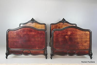 Pair Antique French Louis XV Style Rosewood Beds