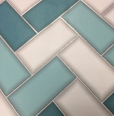 Teal Grey 3D Tile Chevron Effect Wallpaper Geometric Glitter Sparkle Holden
