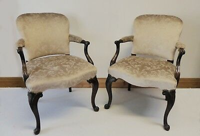 Superb pair of victorian antique mahogany chairs 1880
