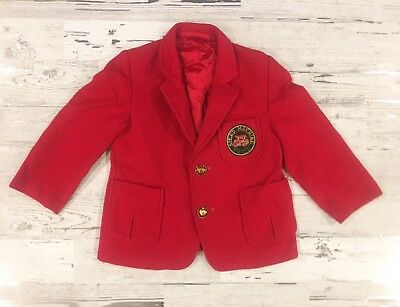 Amazing Boy's Vintage Speed Machine Race Red Sports Coat with Gold Buttons
