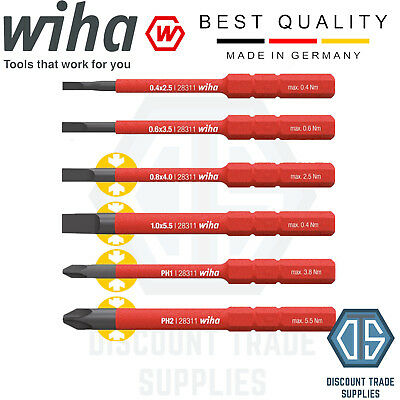 Wiha 36088 VDE Set of 6 SoftFinish Electric Slim Bits Slotted / Phillips PH1 PH2