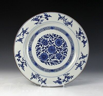 Large Antique Chinese Blue And White Porcelain Charger - Kangxi Period