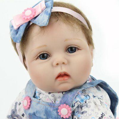 "22"" Reborn Baby Dolls Vinyl Silicone Girl Doll Newborn Handmade Toy+Clothes Gift"