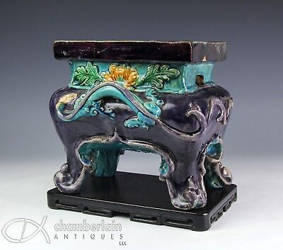 Large Antique Chinese Fahua Glazed Footed Pottery Censer