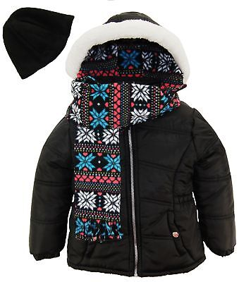 Pink Platinum Girls Coat Quilted Winter Puffer Jacket Snowflake Scarf and Hat