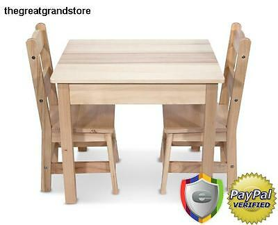 Kids Table & Chair Set Wood Wooden Seat Vintage Classic Desk Dinner Picnic Child
