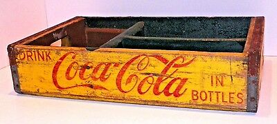 Coca Cola Bottle Crate Vintage Wooden Caddy Carrier Advertising Yellow