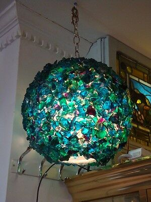 Important Rare Antique Colorful Murano Chunk Glass Globe Chandelier!