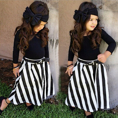 Stunning Girls Kids Navy Blue 4pc Skirt Top & Bow Headband Outfit Set - Age