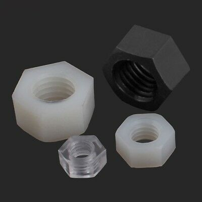 Full Nylon Hex Nuts Plastic Hexagon Spacer White/Black/Clear Fastener DIN934