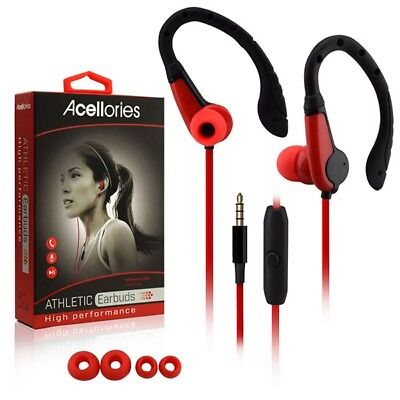 Acellories Athletic Sport Earbuds W Mic Headphones For Samsung Motorola iPhone