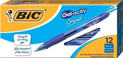 BIC Gel-ocity Retractable Gel Pen, Medium Point (0.7 mm), Blue, 12-Count