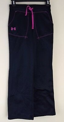 Under Armour Girls Youth Fleece Lined Sweat Pants Black PINK Elastic Size M YMD