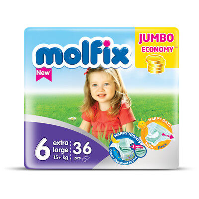 Molfix - Couches Taille 6 (15+kg/Extra Large) - Jumbo Economie (x36 couches)