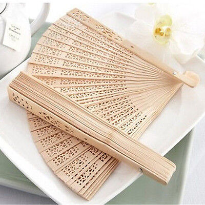 New Retro Wedding Bridal Art Folding Bamboo Fan Wooden Carved Antiques Hand Fan