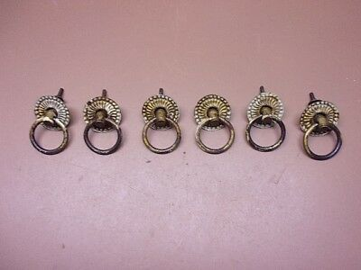 Vtg Lot of 6 Decorative Brass Round Drawer Pulls Very Ornate Old Paint Patina!