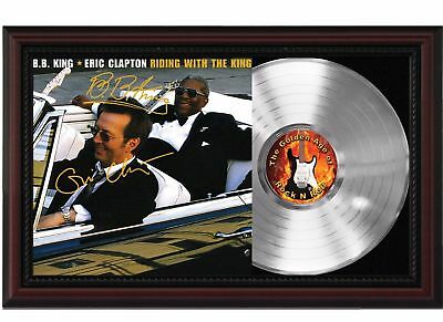 BB King & Eric Clapton Platinum LP Record w/ Reprinted Autographs In Wood Frame