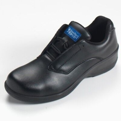 Comfort Grip Women's Black Lace-Up Safety Shoe Steel Toe Cap All Sizes