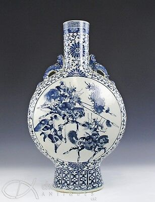 Massive Antique Chinese Blue White Moon Flask Vase W Figures On Horseback