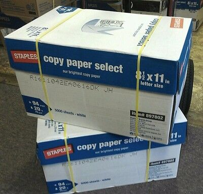 STAPLES White Multi Paper 8.5x11 Copy Print Laser DELIVERED FREE 5000 Sheets