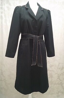 Vintage BLACK TRENCH COAT, 1970s, Size 10 or 12, Foxland by Larson