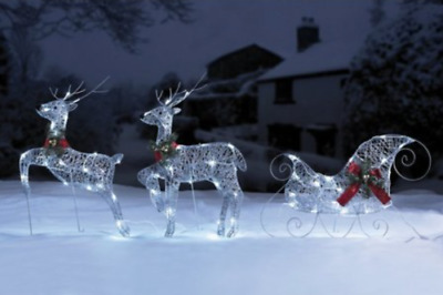 Flying Reindeer and Sleigh Set - Outdoor LED Lights Decorations - Silver or Gold