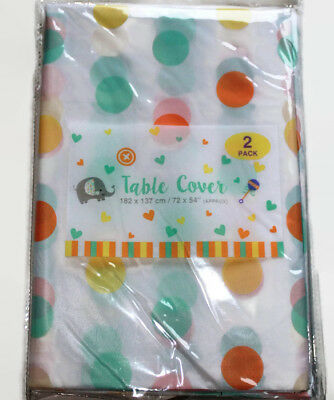 Pack Of 2 Baby Shower Table Covers Unisex  Party Tableware Polka Dot Tablecloth