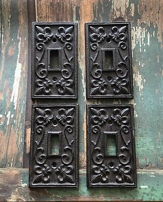 SET OF 4~ Cast Iron French Fleur De Lis Electric Light Switch Plate Cover Single