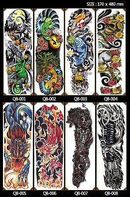 Colorful Full Arm Sleeve Temporary Tattoo Stencil Sticker Body Art 3D Waterproof
