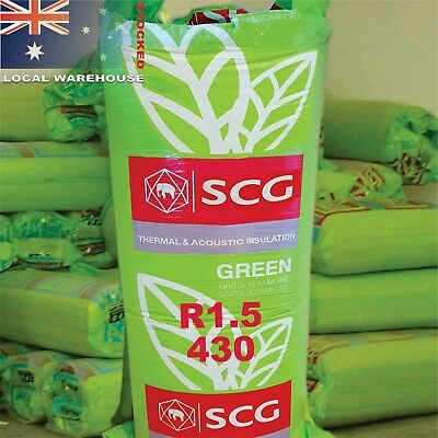 R1.5 430 mm wide Green Thermal Insulation Batts