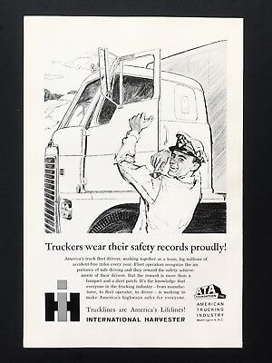 1961 Vintage Print Ad INTERNATIONAL HARVESTER Illustration Truck Hauling