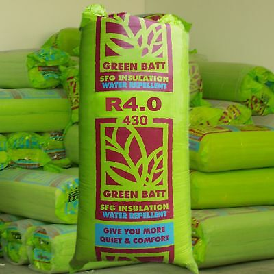 R4.0 Thermal Ceiling & Roof Insulation Glasswool Green Batts: 430mm wide
