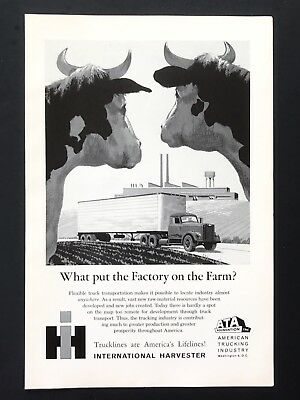 1961 Vintage Print Ad INTERNATIONAL HARVESTER Cows Watch Approaching Truck