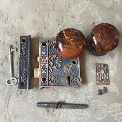 Antique C20 Victorian Eastlake Era  Rim Lock  With Skeleton Key & Door Knobs