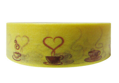 1x Washi tapes Craft Supplies for Scrapbooking Yellow Coffee Tapes New 15mmx10M
