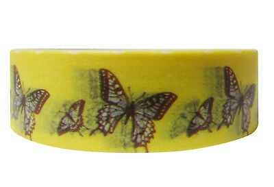 1x Washi tapes Craft Supplies for Scrapbooking Butterfly Design 15mmx10m Yellow