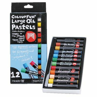 Micador Colourfun Large Oil Pastels 12 Pack Crayons |12pk | OPM612 | Non-Toxic