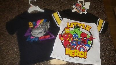 Disney Cars & Marvel Comics Toddler Boy Tees Lot of 2 NEW w/ Tags * NWT* size 2t