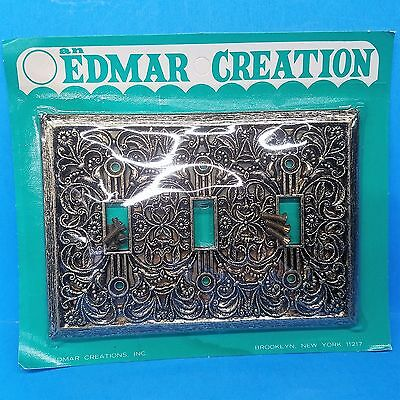 vintage edmar creation brass (3) triple switch plate cover nos in og package