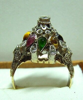 Vintage Harem Ring Semi Precious Stones Cocktail Cluster Mark 14K Gold  4.2 Gram