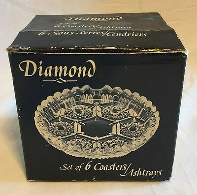 Vintage Diamond 6Pc Set Coasters/ashtrays, Made In Italy 1983, In Original Box