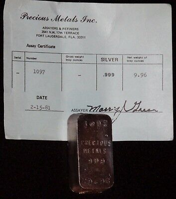 1981 1St Gen Precious Metals Inc 9.96 Troy Oz Poured Silver Bar W/ Original Coa!