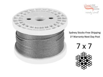 100M G316 Marine Stainless Steel Wire Balustrade Cable Rope 3.2mm 7x7 Decking