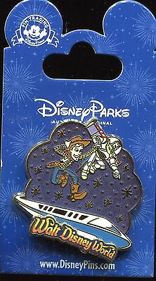 WDW Storybook Night Logo Buzz & Woody With Monorail Disney Pin 107537