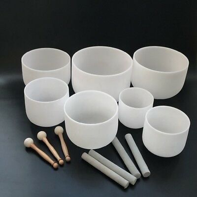 """Chakra Tuned set of 7 Frosted Quartz Crystal Singing Bowl  6""""-12"""" with mallets"""