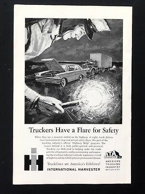 1961 Vintage Print Ad INTERNATIONAL HARVESTER Truck Roadside Emergency Flare